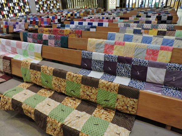 We blessed the quilts at worship on April 30 and May 3.